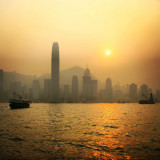 Hong Kong skyline during misty sunset