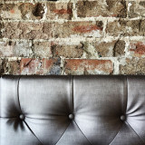 Interior textures of brick wall and leather seat