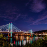 Color in the city - tilikum crossing bridge illuminated at night
