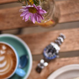 Rolex day/night As pretty as my watch⌚️ is, the flower🌺🌷 always wins. So I took everything else out of focus.The beauty of nature 🌴🌾🌺🍂#flower #pink #coffee #flatwhite #flowers #flowerslovers #wood #watch #stainlesssteel #rolex  #gmt #daynight #blnr #nikon #nikkor #nikond5500 #nikonphotography #nikon_photography_ #eatmcr