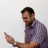 Happy people on mobile devices