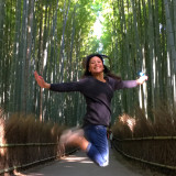 Jumping for joy reaching Bamboo Groove in Kyoto. Bucket list ✔️