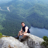 At the summit of 3124' Table Rock Mountain on a June 2005 hike in the South Carolina Upcountry high above Table Rock Reservoir in Table Rock State Park.