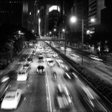 Cars by night at Hong Kong - Black and White