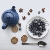 Blueberry with pot of tea for breakfast