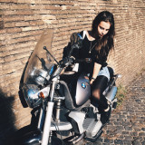 Girl on a BMW motorcycle
