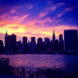 Manhattan skyline, dusk.