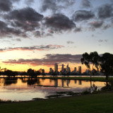 Perth city skyline at sunset, Western Australia