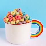 Mug full of fruit loop cereal