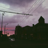 The sky was pink.