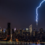 A monster lightning struck the supertall residential skyscraper, 432 Park Avenue, in New York tonight!