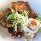 Super foods. Sweet potato and Kale fritters with poached egg and beetroot purée.