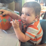 Connor's first year in the Annual Family Pumpkin Carving/decorating
