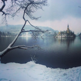 Lake Bled bedecked in snow.