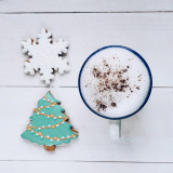 christmas gingerbread cookies and hot chocolate