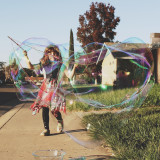 Girl and bubbles.