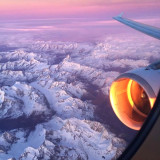 While flying over Alps mountain