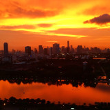 Amazing red sunset over Bangkok as seen from our balcony