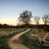 Fenced path on battlefield in Gettysburg, PA.