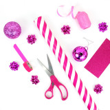 Pink modern Christmas wrapping and decor.