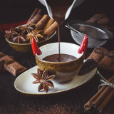 Hot chocolate with red chilli pepper, anise stars, cinnamons and cocoa. Low key
