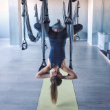 Girl at air stretching, sport