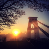 Sunset in the mist Clifton suspension bridge