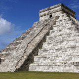 El Castillo Mayan pyramid at Chichen Itza on the Yucatan Peninsula in Mexico. Chichen Itza is one of the most visited archaeological sites in Mexico, with an estimated 1.4 million tourists visiting the ruins every year.