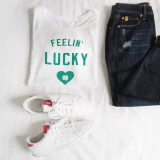 St Patrick's Day Statement T-Shirt outfit of the day flatlay