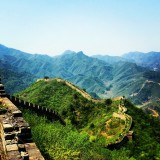 Great Wall of China, Beijing. Unrestored side of the wall.
