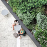 Aerial view of  two women in conversation