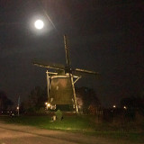 ~ Almost full moon above the most photographed windmill of Amsterdam ~