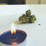 Cannabis flower and candle