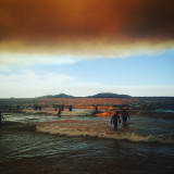 Smoke in the sky during Marseille wildfire. Taken on the beach.