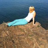 Sitting on my favorite rock by Lake Superior in Marquette, Michigan.