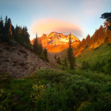 Summer sunset from paradise park, mount Hood wilderness Oregon