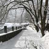 Snow path by the river. Japan