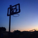 Basketball hoop at sundown