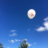 White ballon with pink ribbon on a breast cancer walk day. 🔸🔹