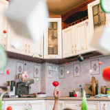 Levitate kitchen creative concept with vegetables
