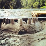 The sand castle Avery and Chris built on the