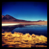 View across a lake in bolivia