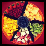 Mixed fruits for a Christmas Eve party.