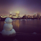 snowman checking out the view