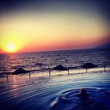 Watching the sunset from the infinity pool at the charisma deluxe hotel in Kusadasi 2012