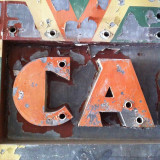 CA - California rugged rustic street letters found in an old building downtown.