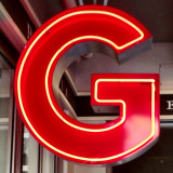 Letter 'G' illuminated sign
