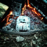 I was sitting at the campfire and notice that one of the blocks of wood developed a face similar to the Adipose creatures from Doctor Who. Thus, this.