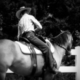 Black and white cowgirl and horse.