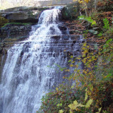 An autumn shot of Brandywine Falls in the Cuyahoga Valley National Park, located between Akron and Cleveland, Ohio.